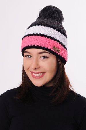 Barevná dámská zimní pletená čepice s pruhy růžová, bílá, šedá, černá a s bambulí