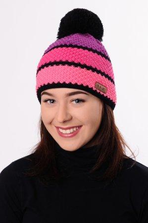 Růžová dámská zimní pletená čepice s barevnými pruhy a s bambulí