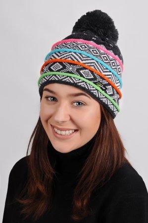 Šedá dámská pletená čepice s bambulí s barevnými pruhy