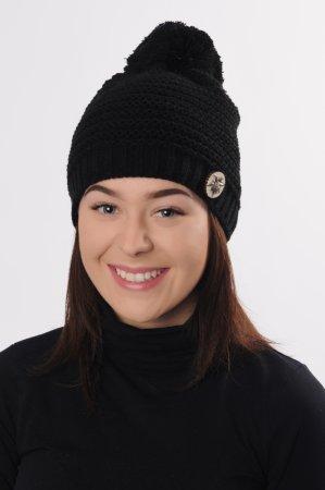 Černá dámská zimní pletená čepice s broží a bambulí