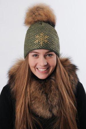 Khaki zelená dámská zimní pletená čepice s pravou kožešinovou bambulí