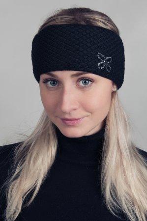 Černá dámská zimní pletená čelenka s kamínky
