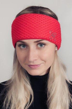 Červená dámská zimní pletená čelenka s kamínky