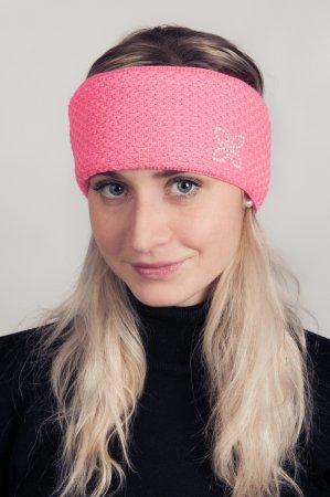 Růžová dámská zimní pletená čelenka