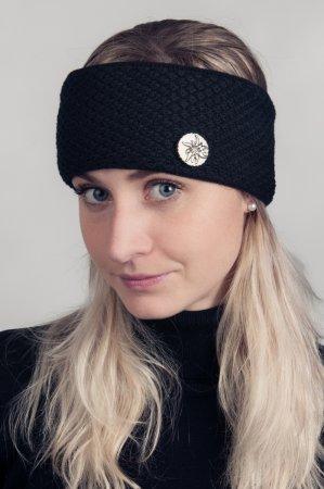 Černá dámská zimní pletená čelenka s broží