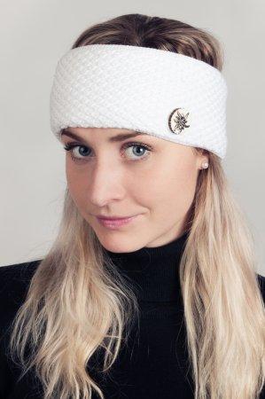 Bílá dámská zimní pletená čelenka s broží