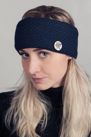 Modrá dámská zimní pletená čelenka s broží