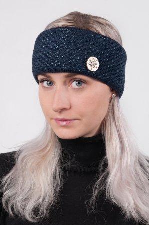 Modrá dámská zimní pletená čelenka s modročernou lesklou nitkou
