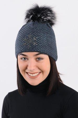Džínově modrá dámská zimní pletená čepice s pravou kožešinovou bambulí