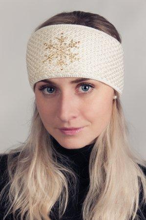 Smetanově bílá dámská zimní pletená čelenka
