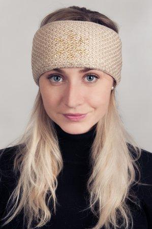 Béžová dámská zimní pletená čelenka se zlatou lesklou nitkou a kamínky