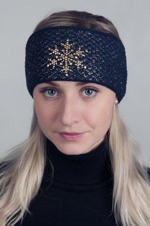 Modrá dámská zimní pletená čelenka s lesklou zlatou nitkou