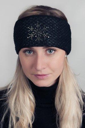 Černá dámská zimní pletená čelenka s modročernou lesklou nitkou a kamínky