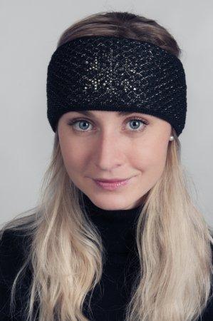 Černá dámská zimní pletená čelenka s bronzovou lesklou nitkou a kamínky